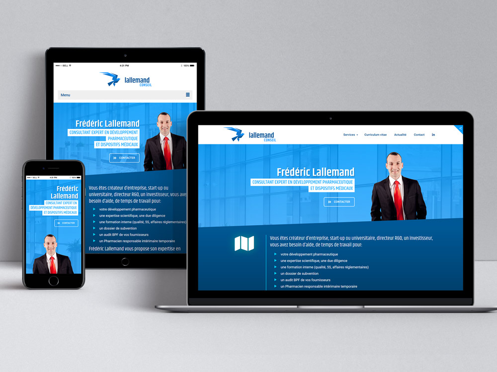 Site web Lallemand Conseil affiché sur différents écrans