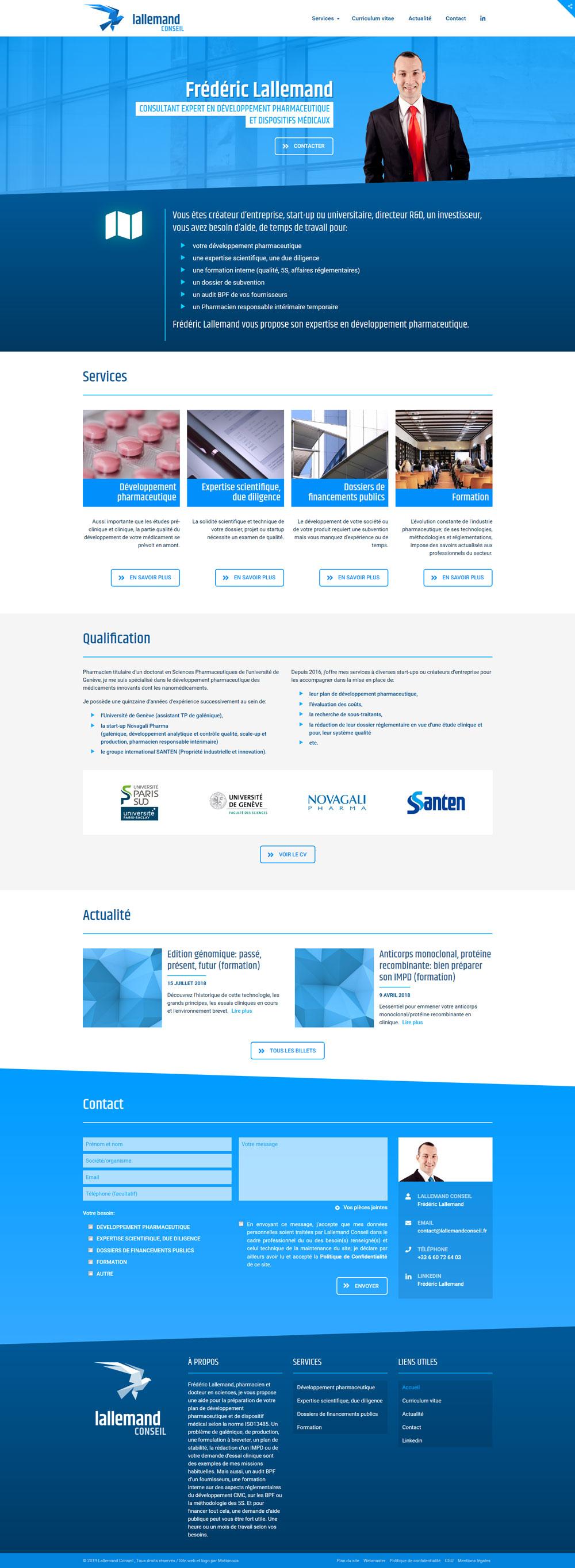 Page d'accueil du site web Lallemand Conseil